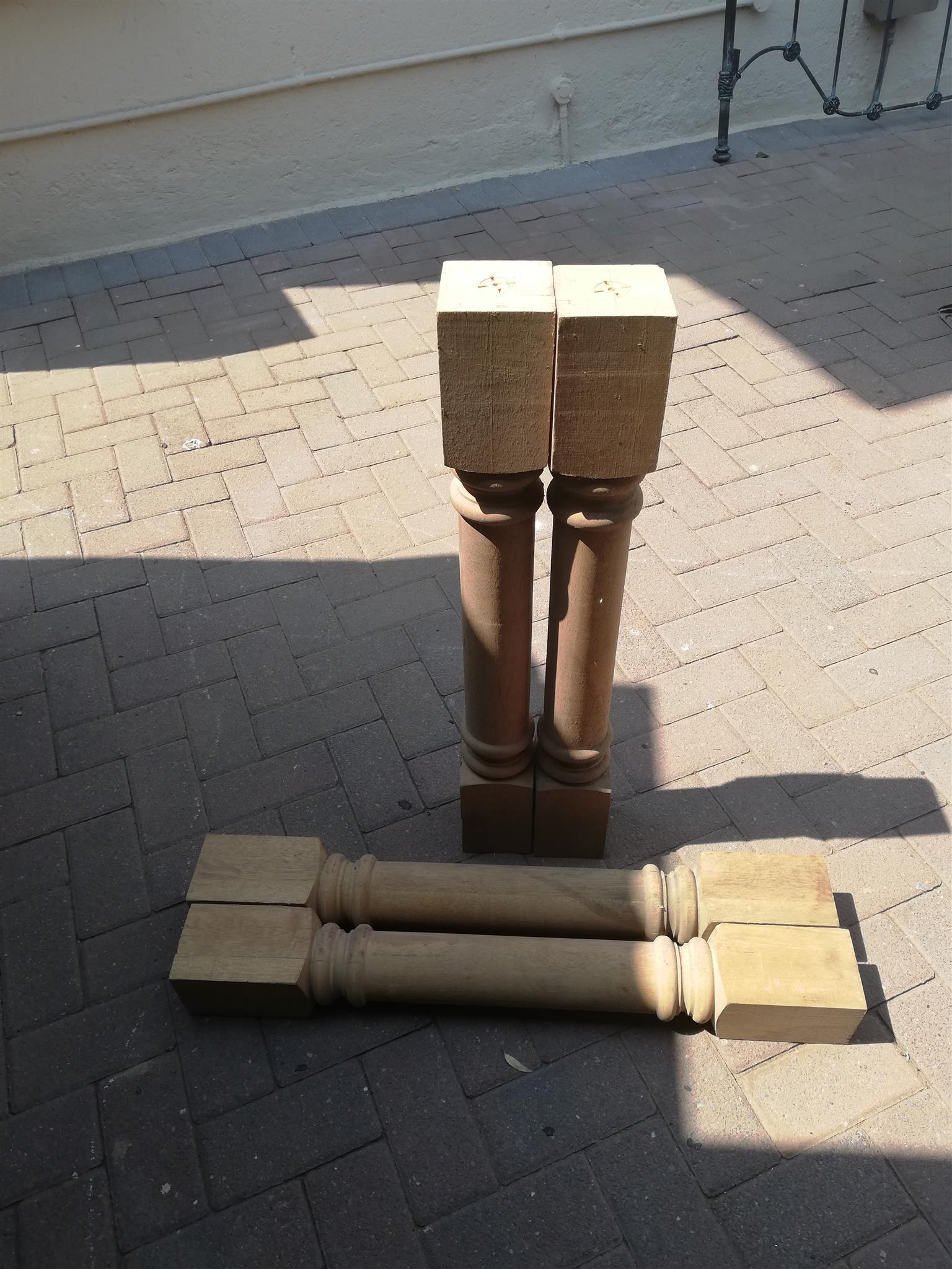 4 x 800mm High Solid Meranti Legs