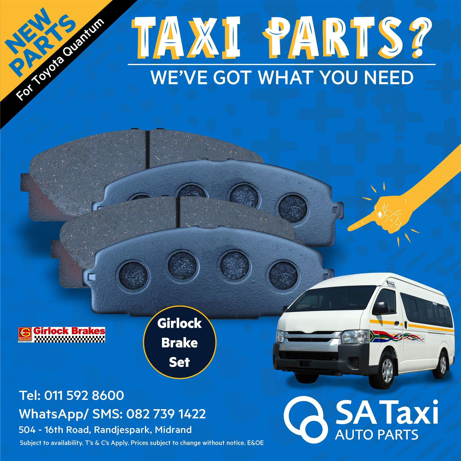 New Girlock Brake Pad set suitable for Toyota Quantum - SA Taxi Auto Parts Quality New Taxi Spares