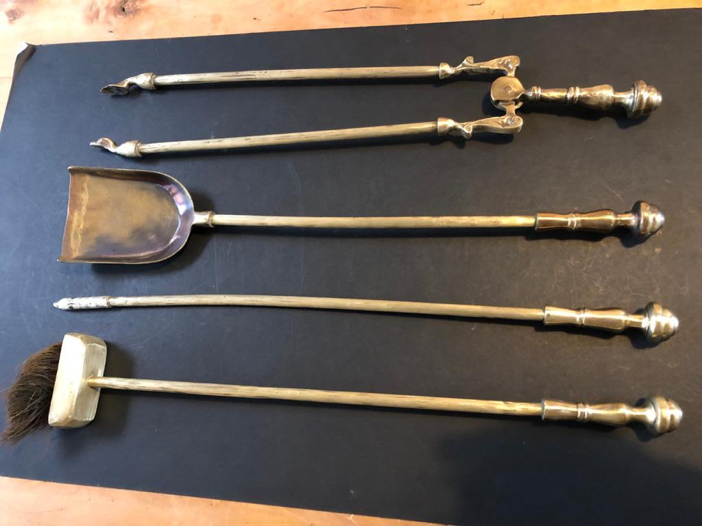 Antique large brass set of Fire-irons / fireiron - ornate and detailed