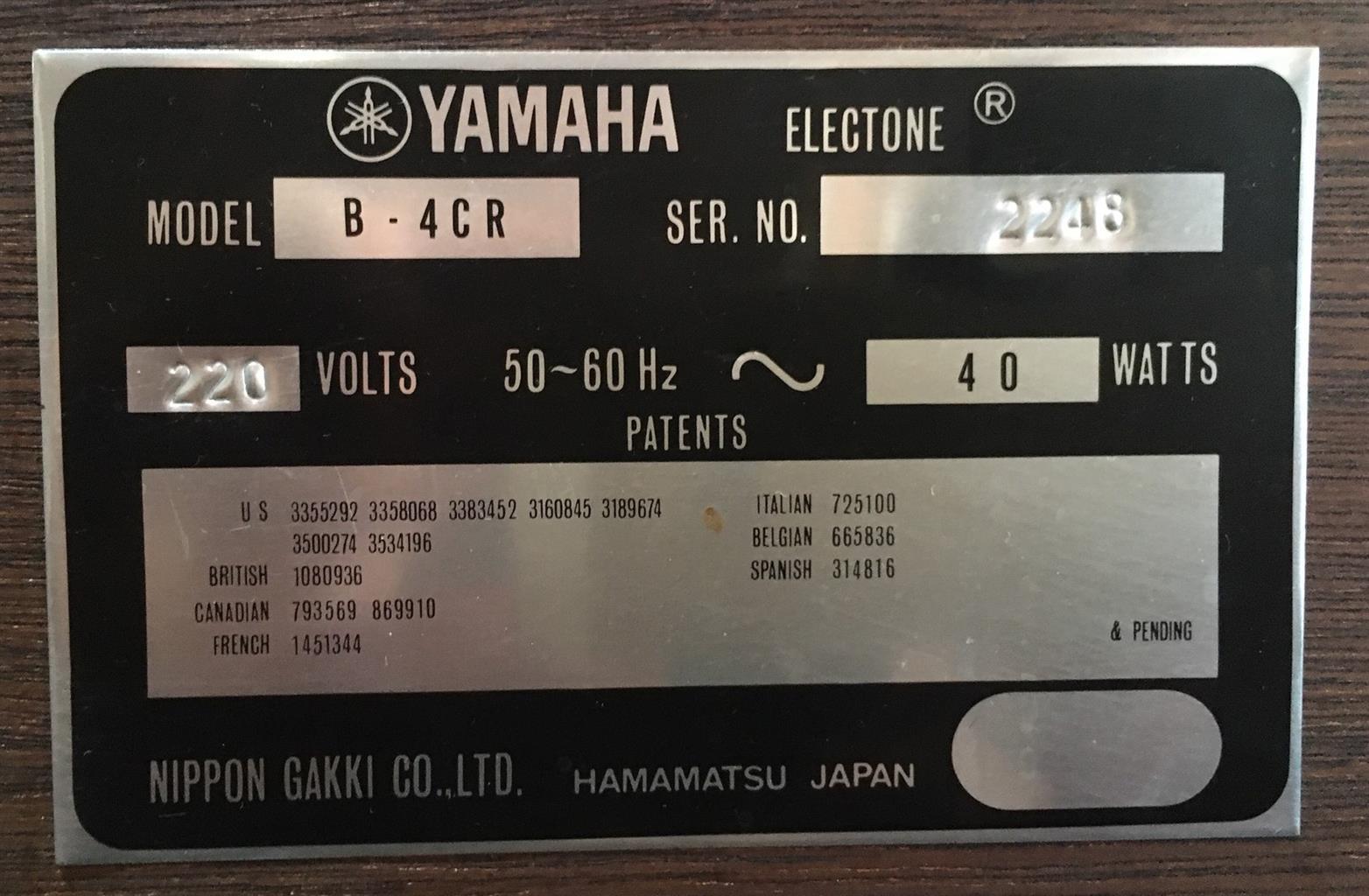 Yamaha Organ B-4CR