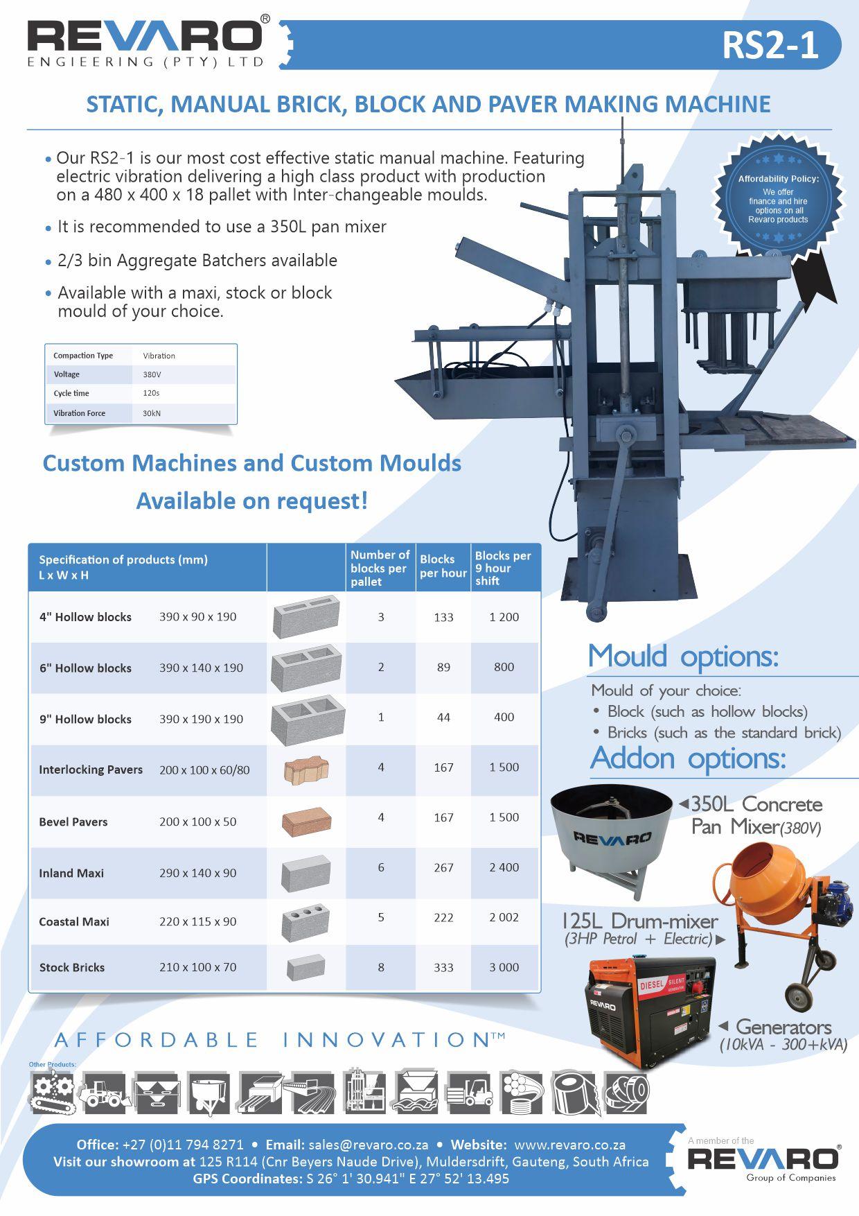 Brick RS range making machine static manual high output