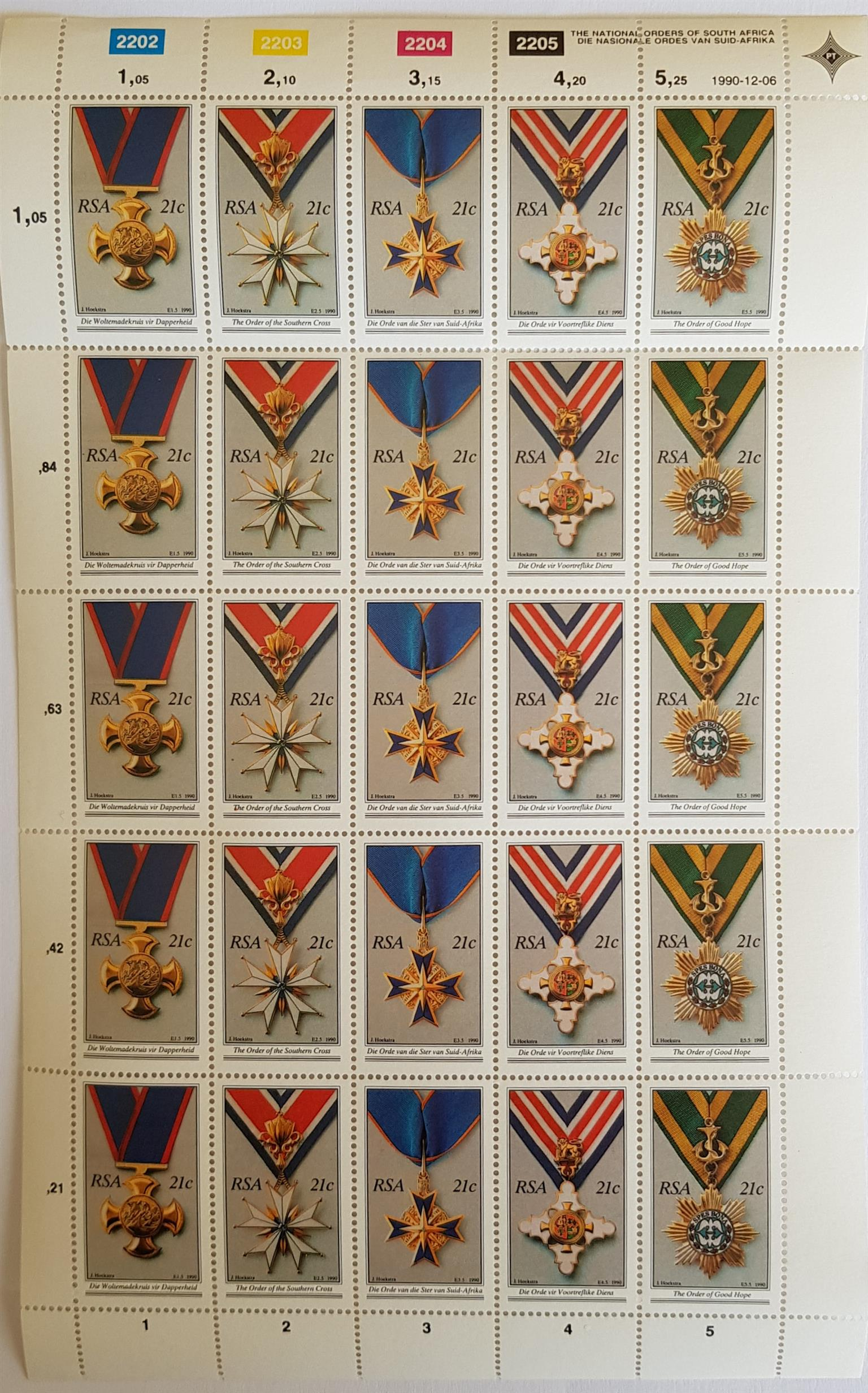 Stamps - The National Orders of South Africa 21c - 2202 to 2205  - 06.12.1990