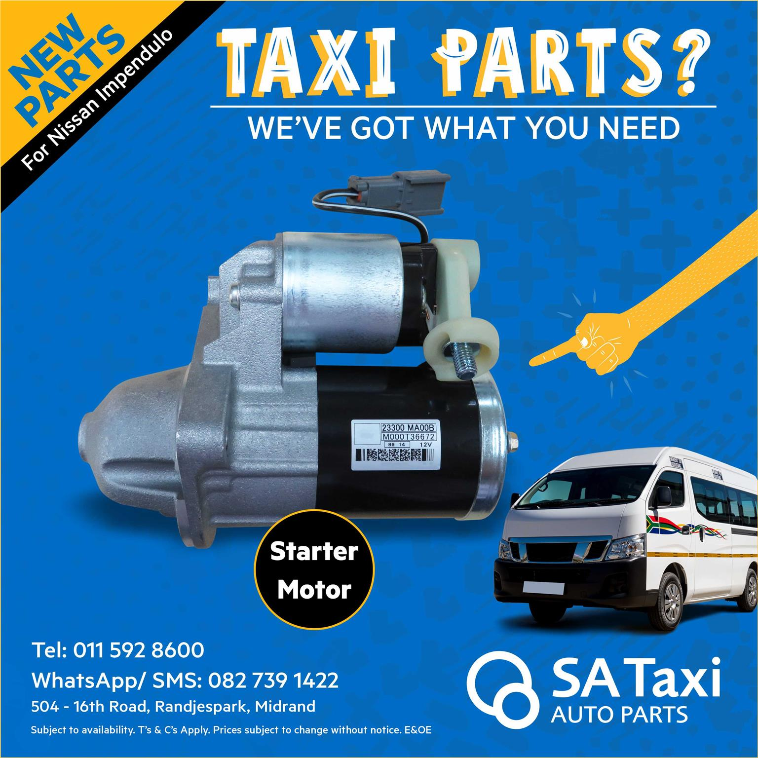 New Starter Motor suitable for Nissan Impendulo