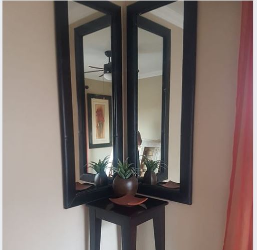 Mirrors and table