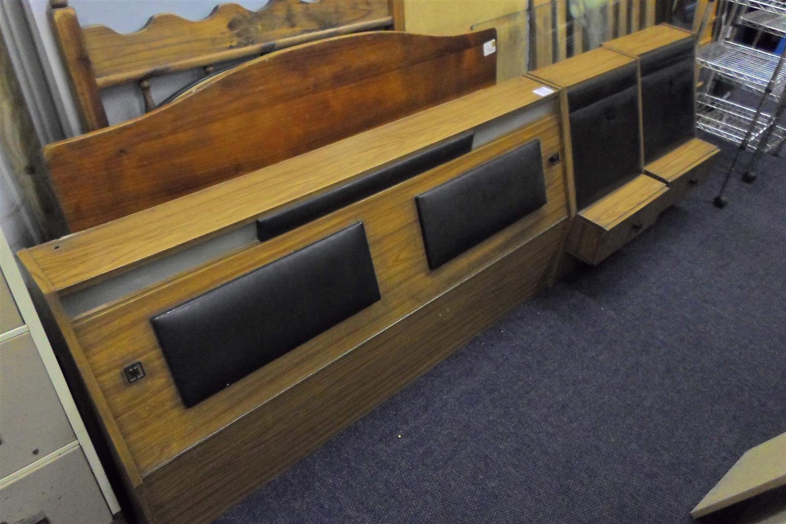 Wooden Double Bed Headboard + 2 Side Tables