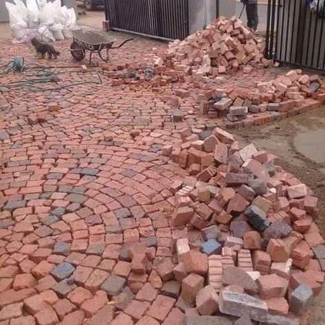 Half brick paving