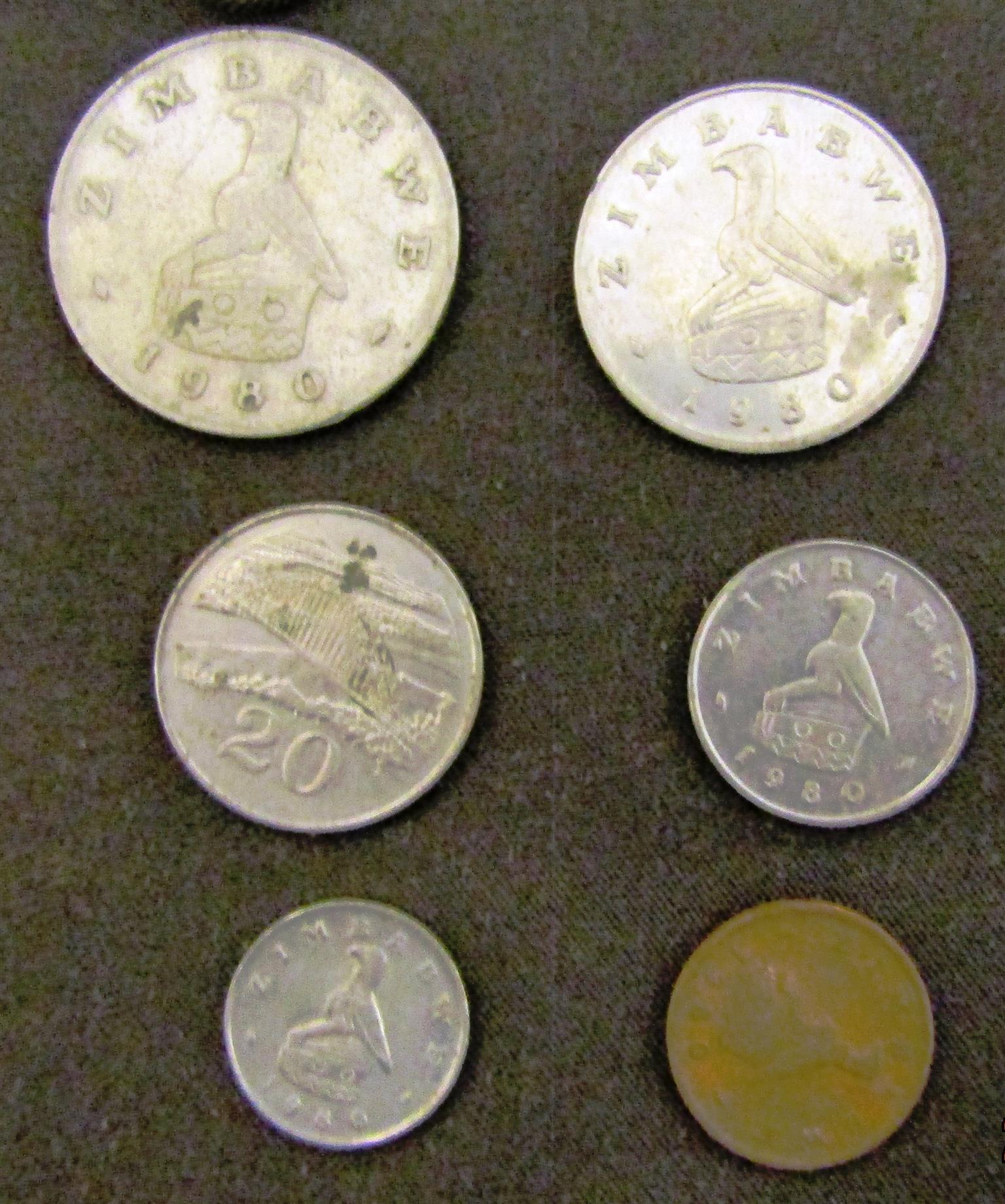 Assorted 1980 Zimbabwe Coins x 6  nice one for beginners