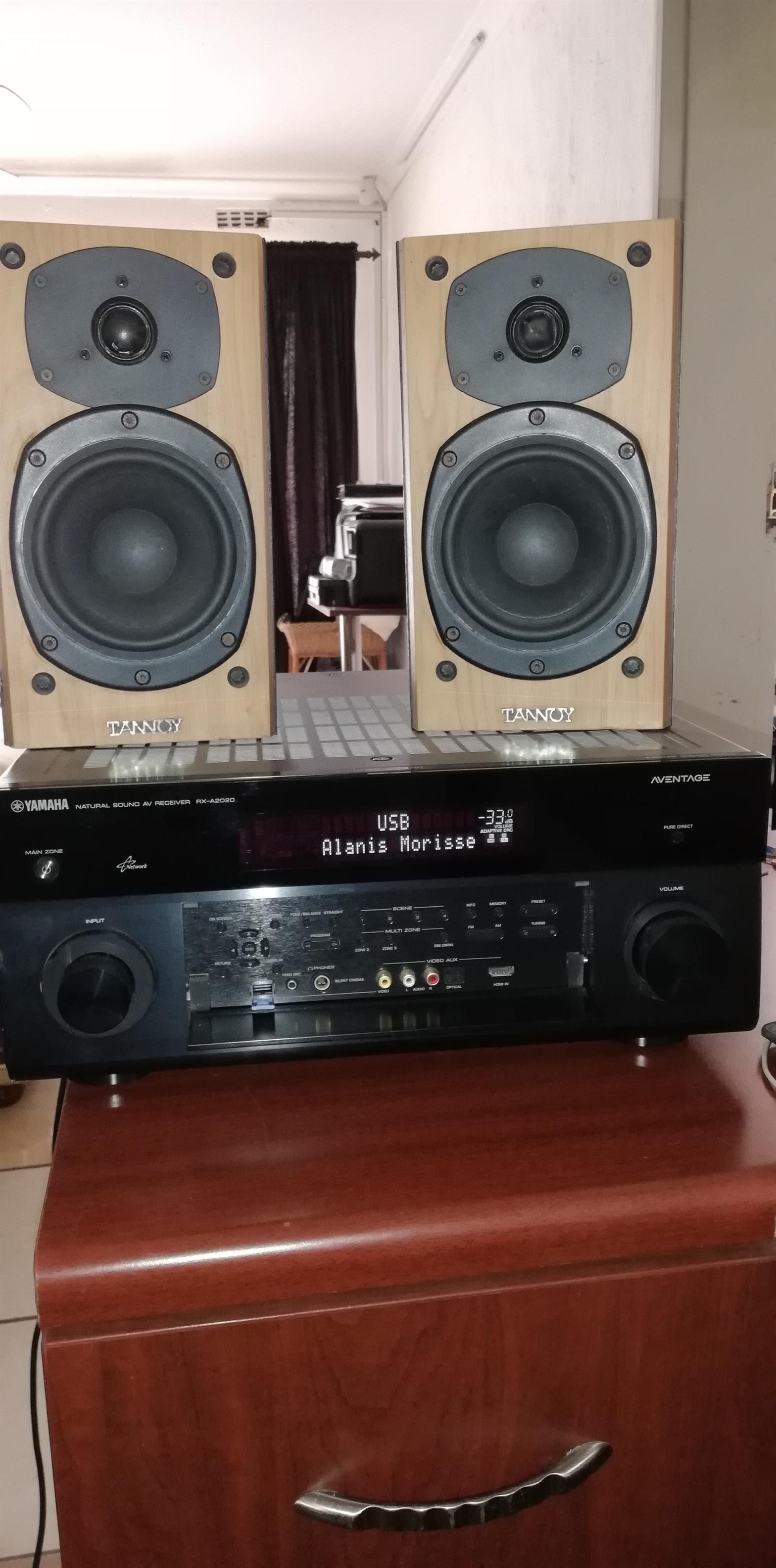 Yamaha Aventage RXA-2020 9.1 Channel Home Cinema DTS Amplifier with 3 Zones and with 2 Tannoy 70watt Shelf Standing Speakers for free and all in Good working condition.