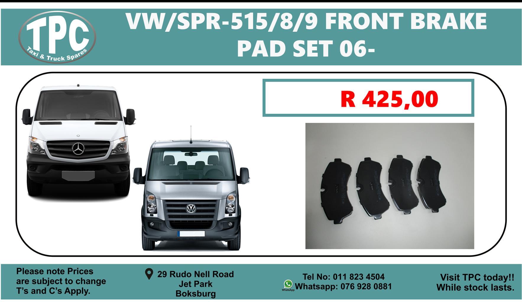 VW Crafter & Mercedes Benz Sprinter 515/8/9 Front Break Pad Set For Sale @ TPC