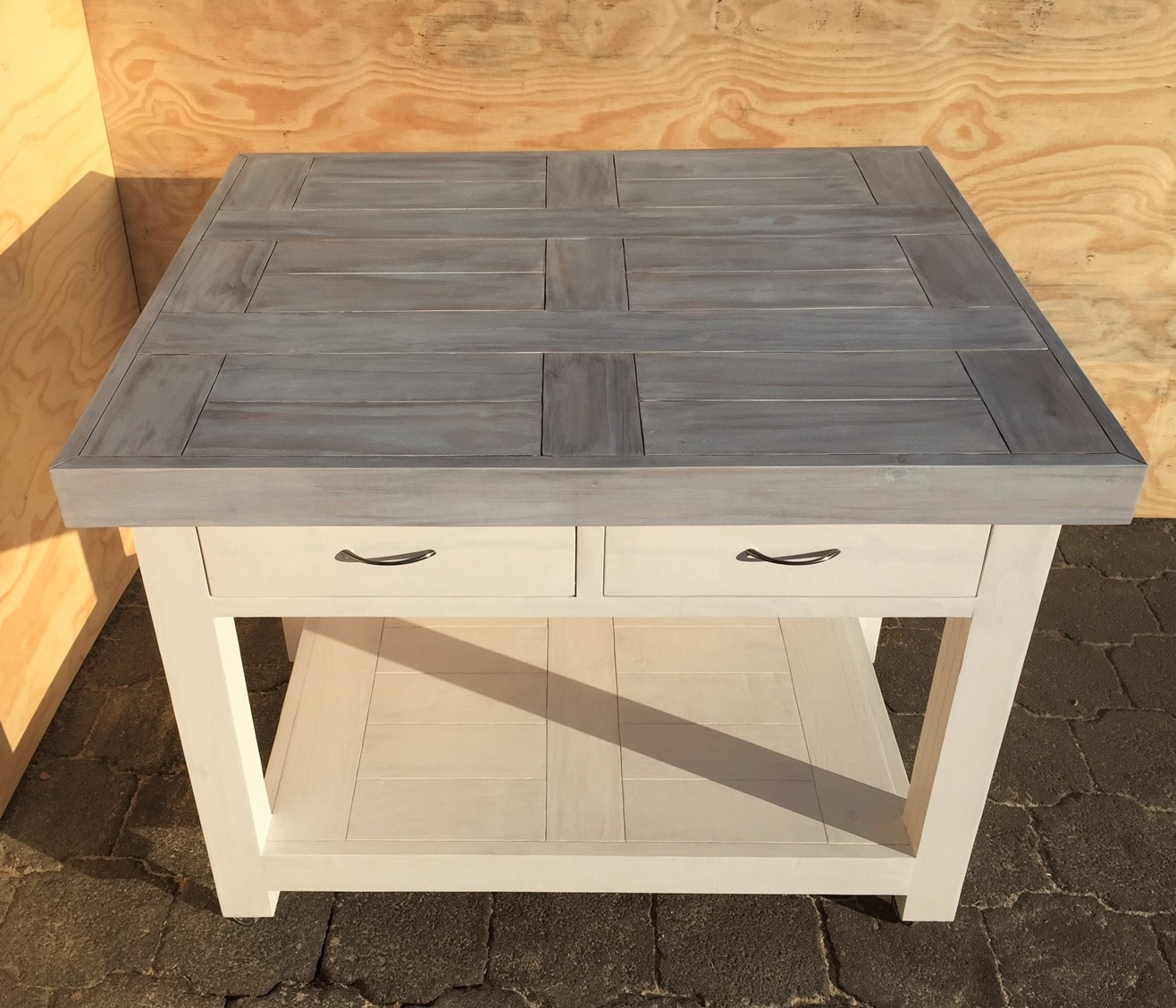 Kitchen Island Farmhouse series 1180 with 2 drawers mobile Version 2 - Two tone