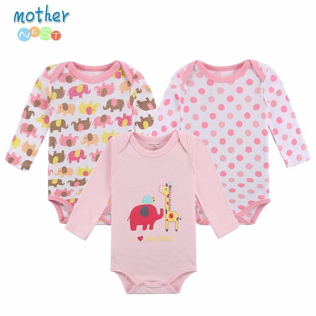 100% Cotton Baby Bodysuit 3 piece Newborn Baby Long Sleeve baby grow Infant Girl/Boy Pajamas Clothes