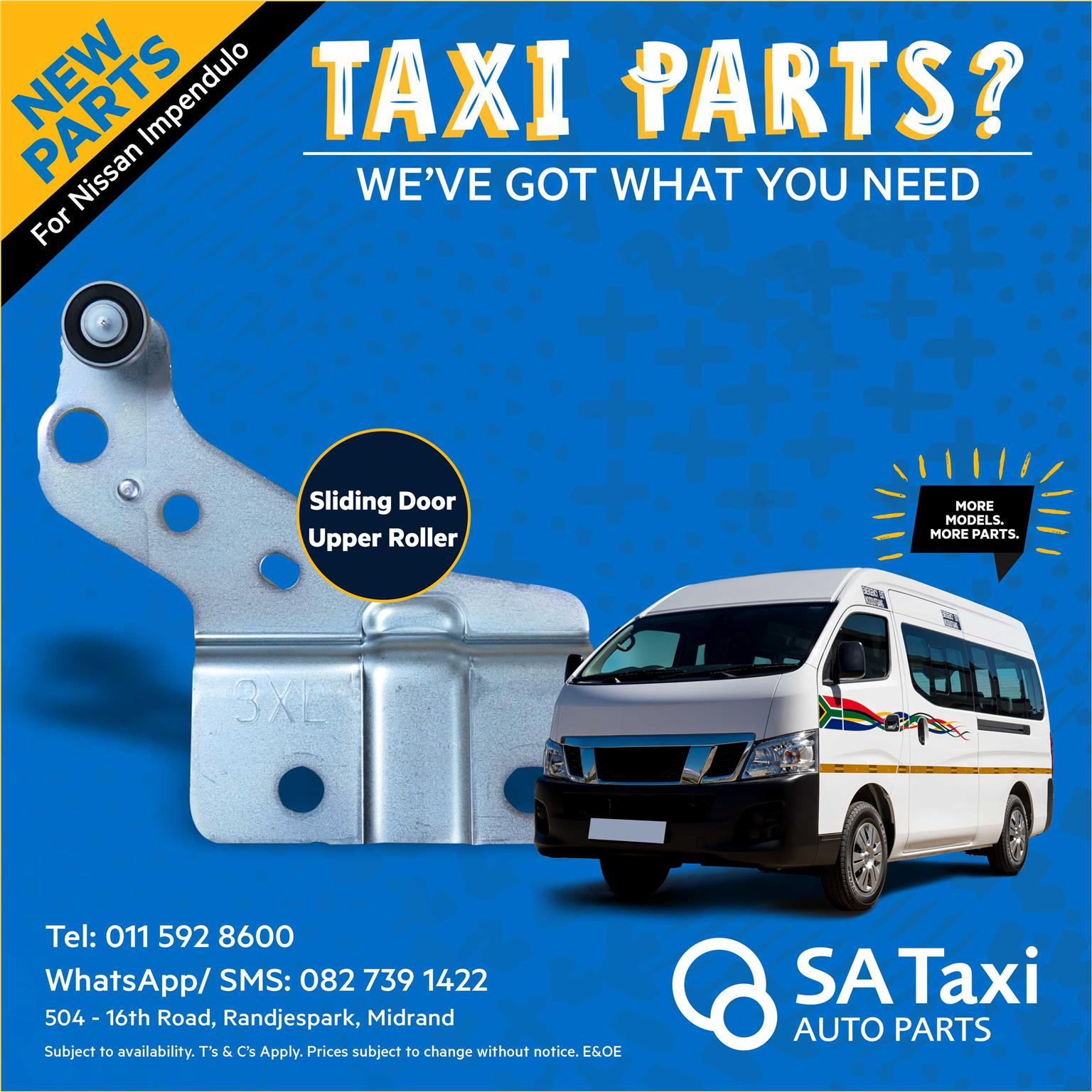 New Sliding Door Upper Roller for Nissan Impendulo - SA Taxi Auto Parts quality spares