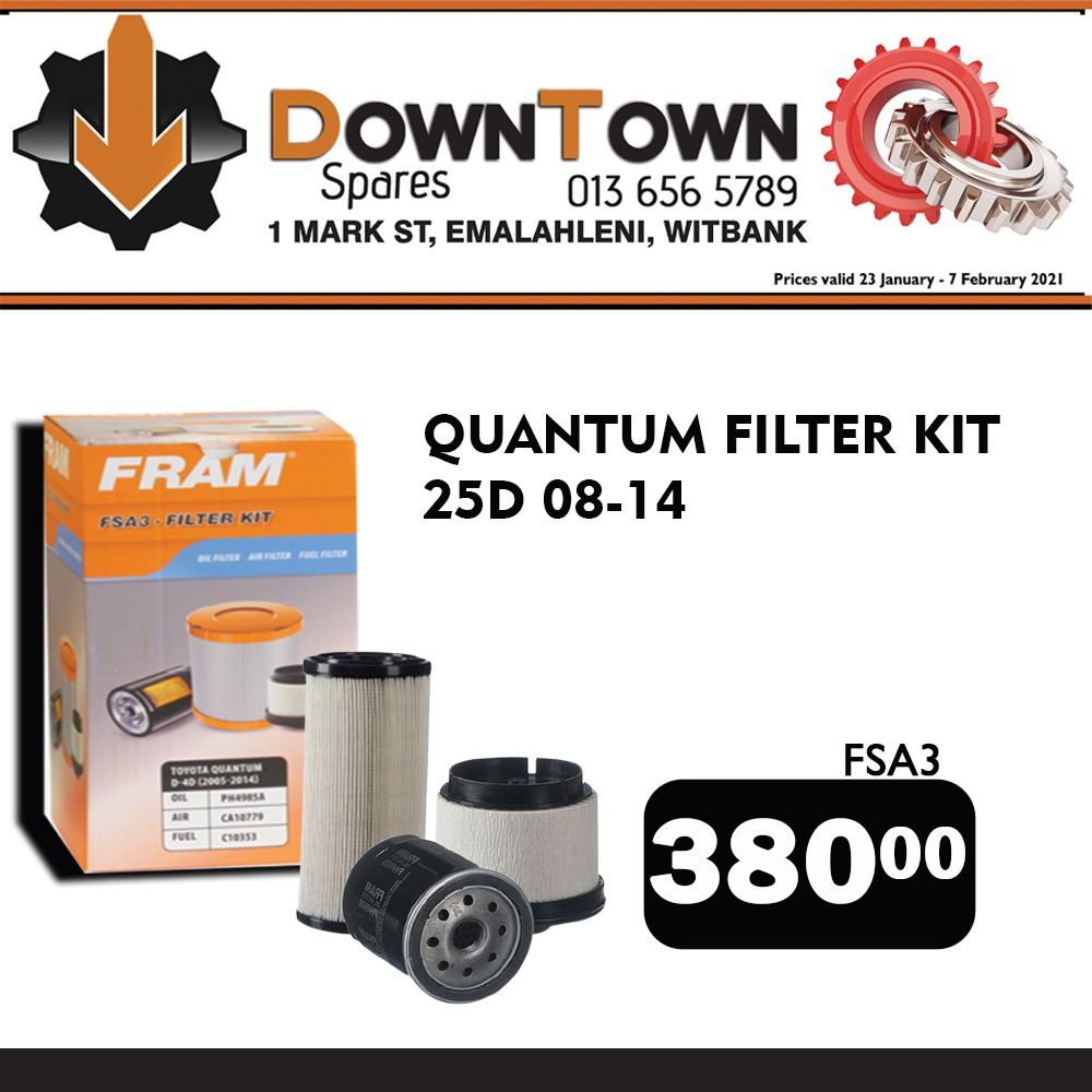 Quantum Filter Kit ONLY R380! Available from 23 Jan - 7 Feb at Downtown Spares!