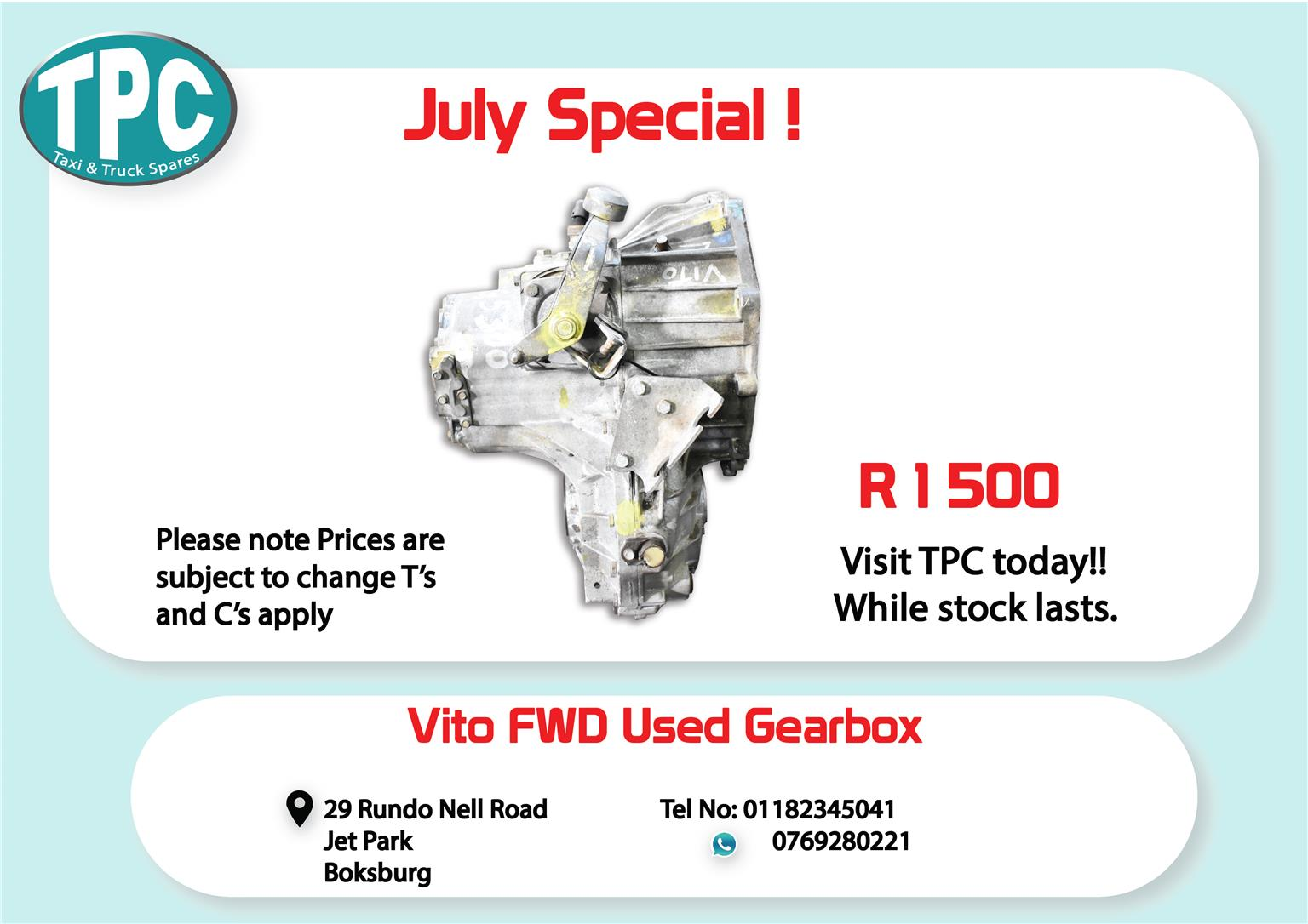 Mercedes Benz Vito FWD Used Gearbox for Sale at TPC