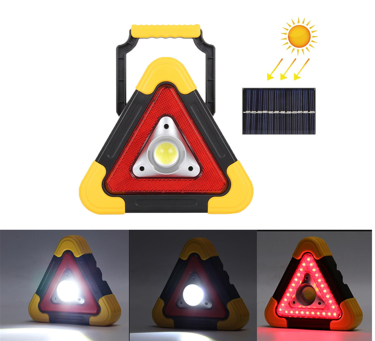 Solar Triangle Torch and red multi function work light