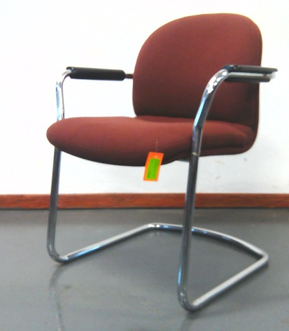 Maroon chrome base visitor fabric chair