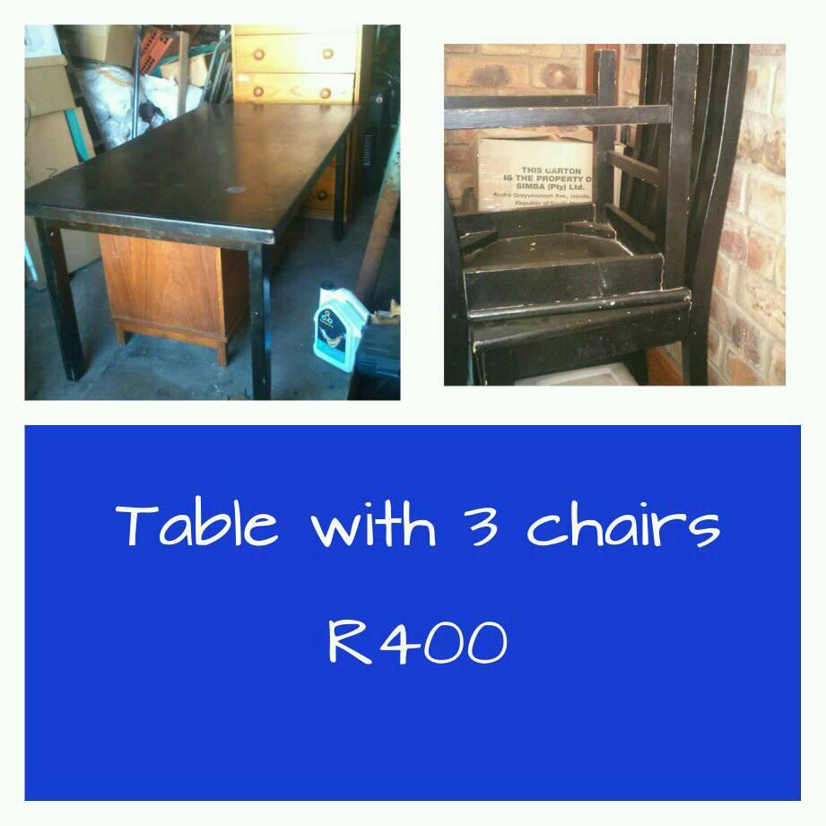 Table with 3 chairs for sale