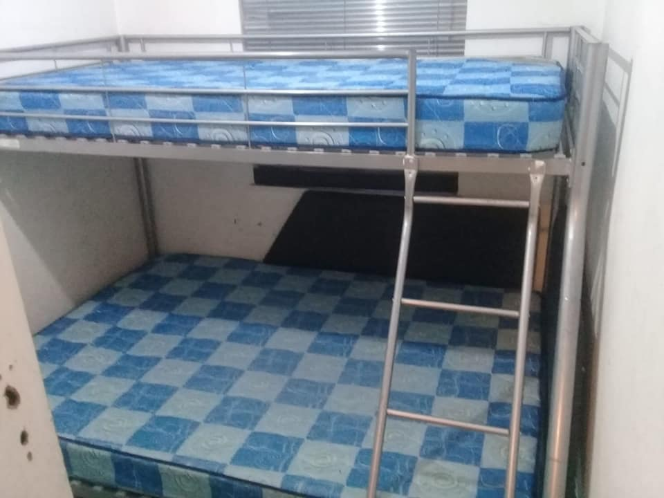 Steel double bunk with mattresses