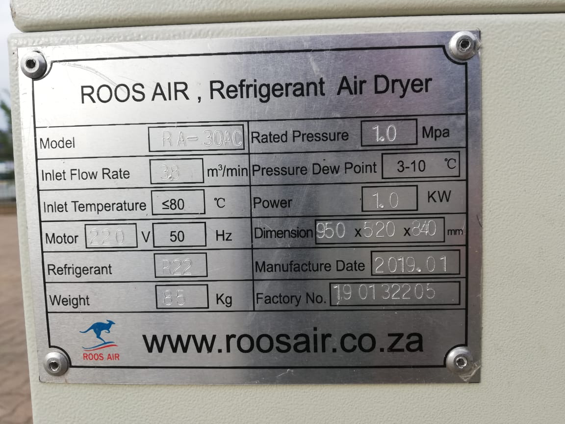 Air Dryer, ROOS AIR, RA-30AC, 134CFM, 3.8m³/min