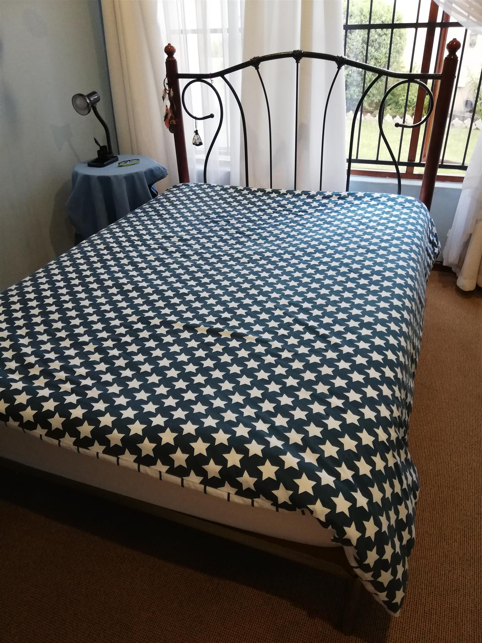 Wrought Iron Double Bed and Mattress