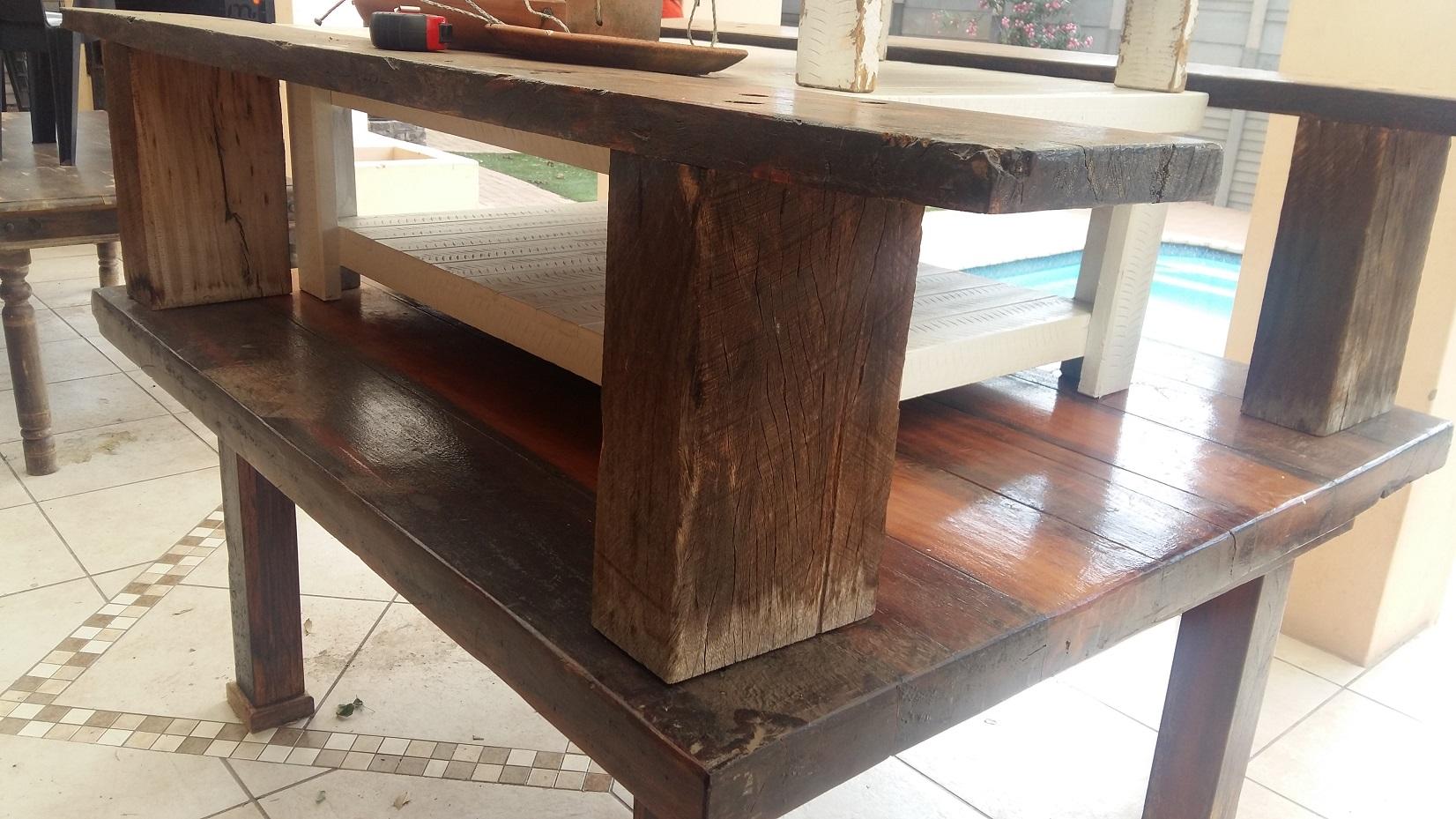 Old Rhodesian Teak Railway Sleeper Table and Chairs