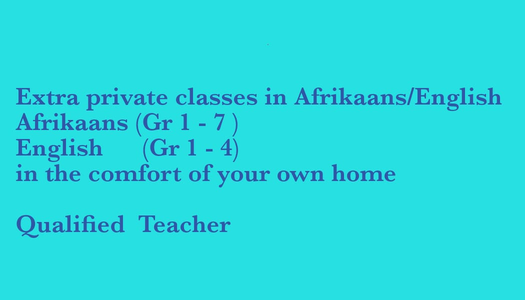 Profesional tutor in afrikaans and english