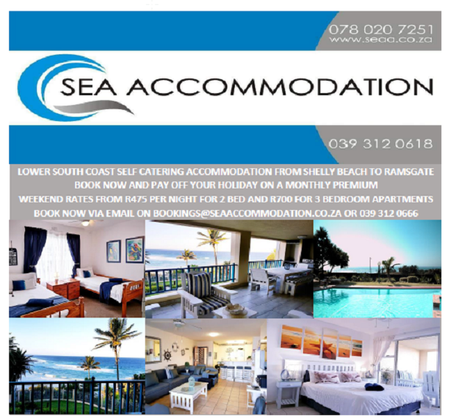 Self Catering Holiday Accommodation in Lower South Coast KZN