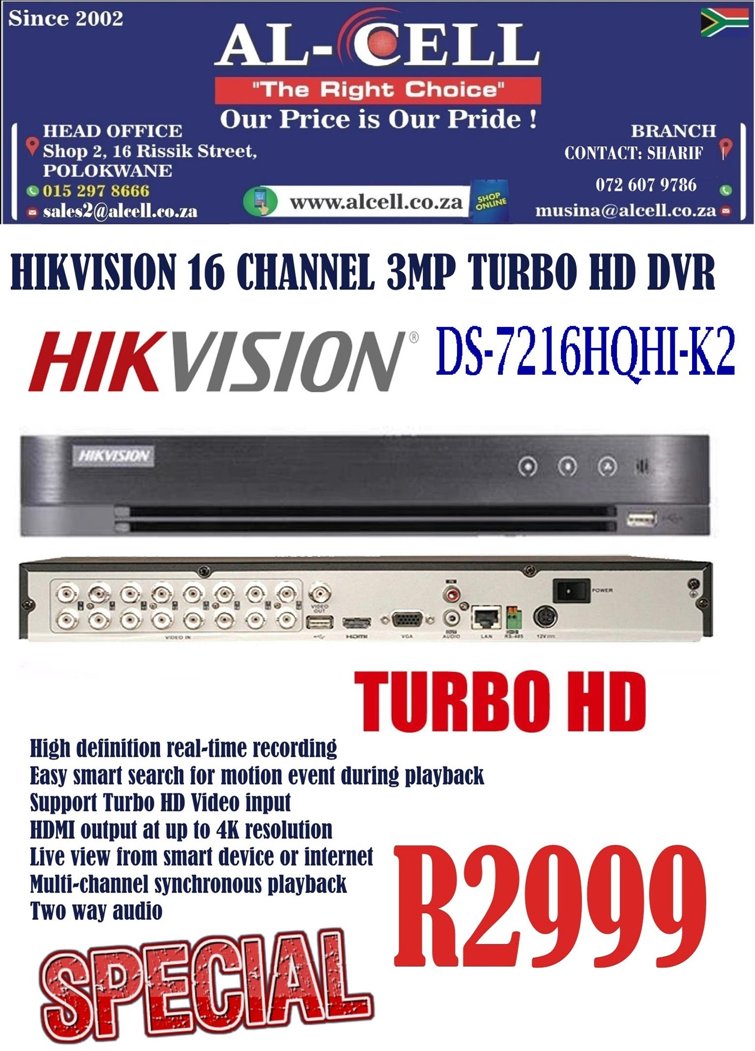 Hikvision 16 Channel DS-7216HQHI-K2 Turbo HD 3MP DVR
