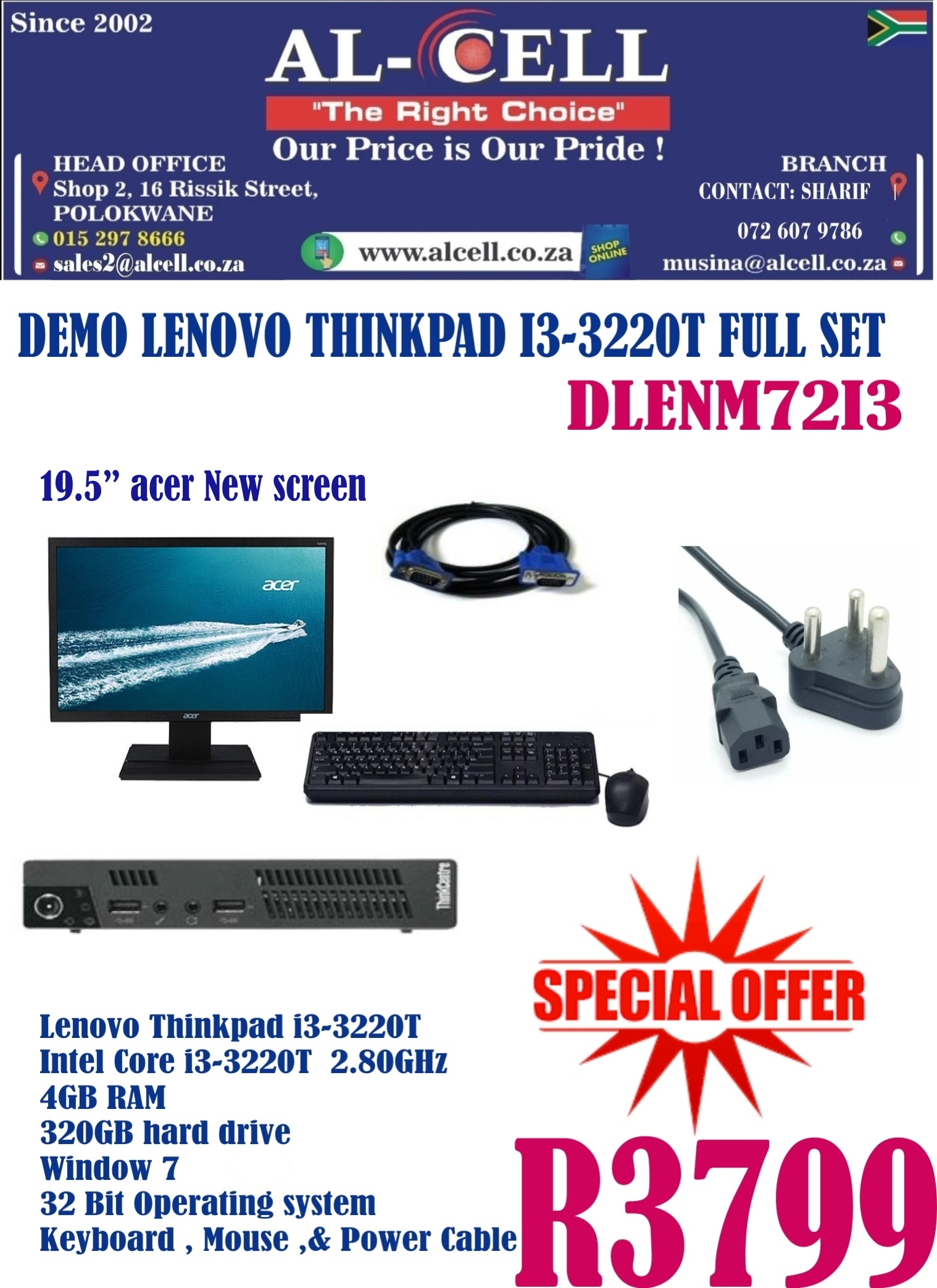 Pre-Used Lenovo Thinkpad I3 - 3220T Full Set
