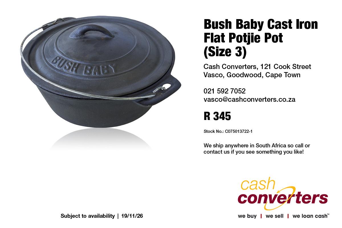 Bush Baby Cast Iron Flat Potjie Pot (Size 3)