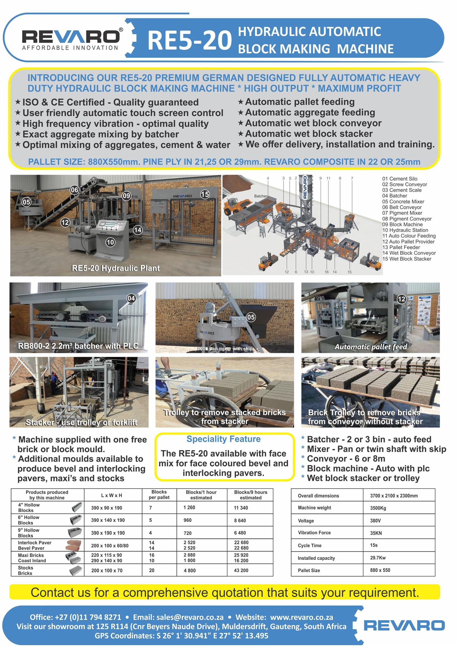 Block and brick making machines Static semi and fully automatic