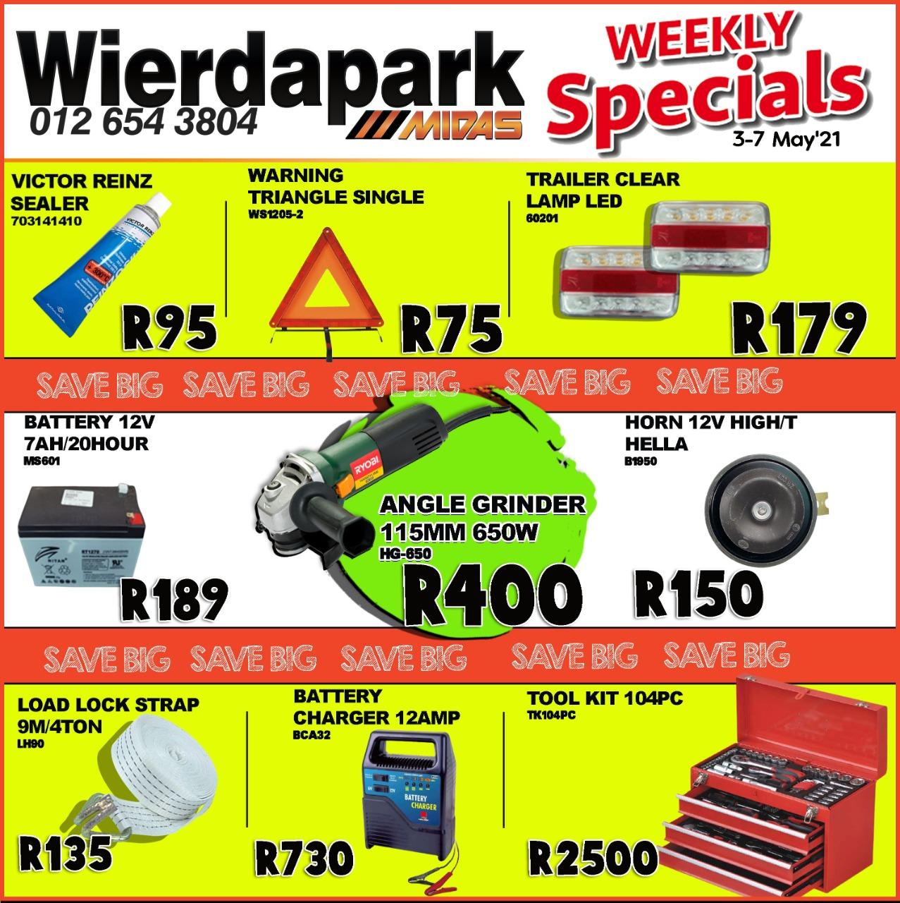 Weekly Specials now on at Wierdapark Midas!