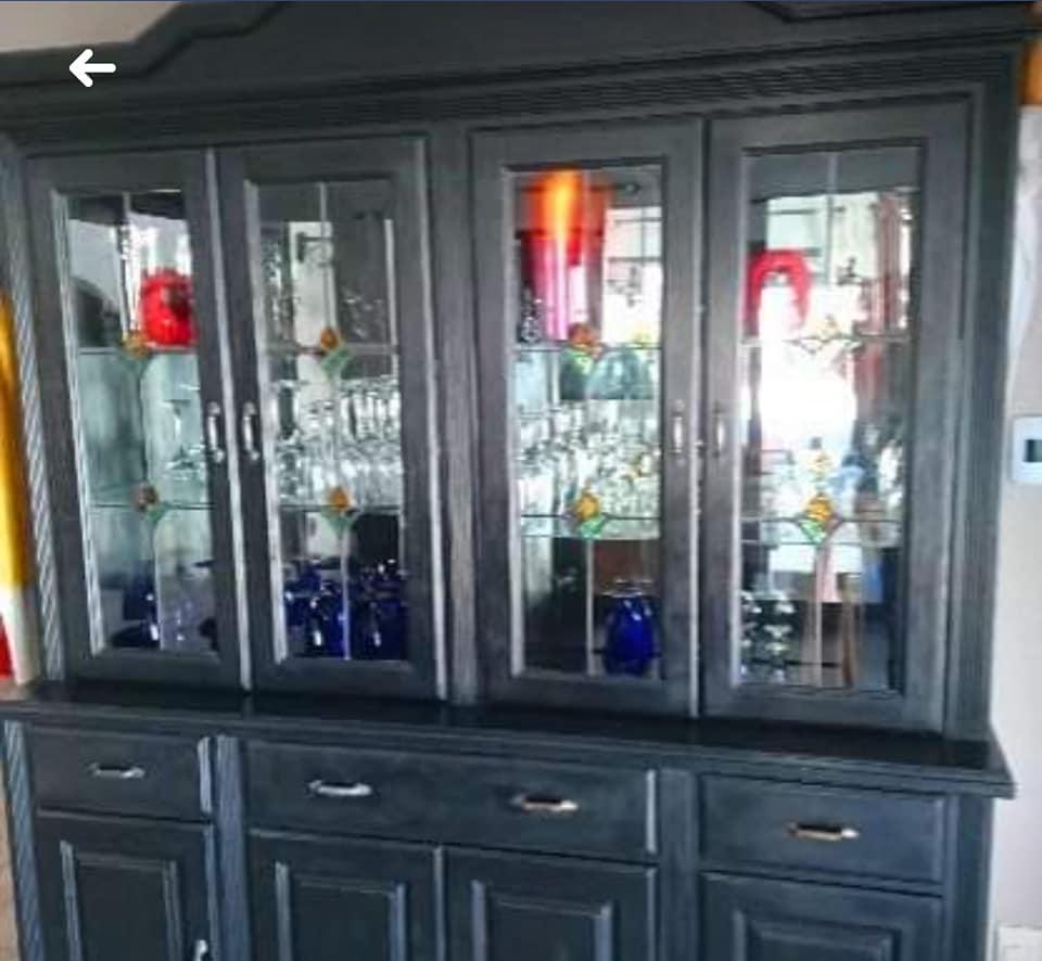 Dark grey glass door dining side cupboard