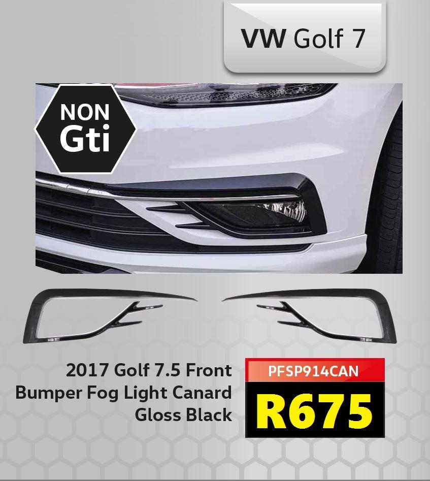Golf 7.5 Front Bumper Fog Lamp Canard - Gloss Black