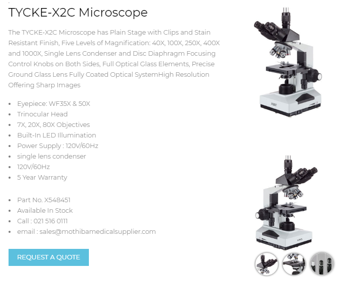 TYCKE-X2C Microscope | Call : 021 516 0111