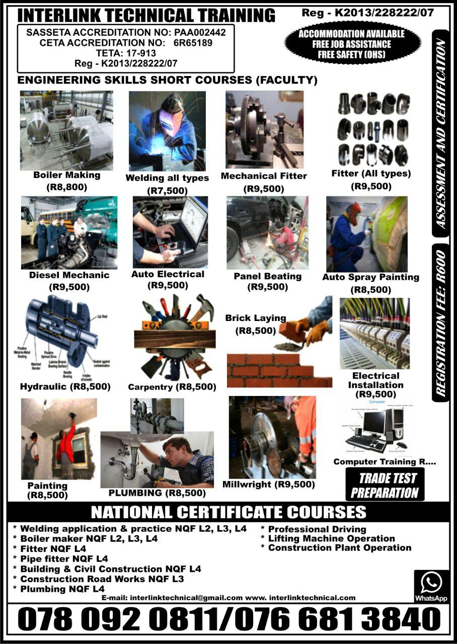 Skills courses, Boiler making, Welding, Fitter, Diesel mechanic, Electrical, Carpentry, Bricklayer