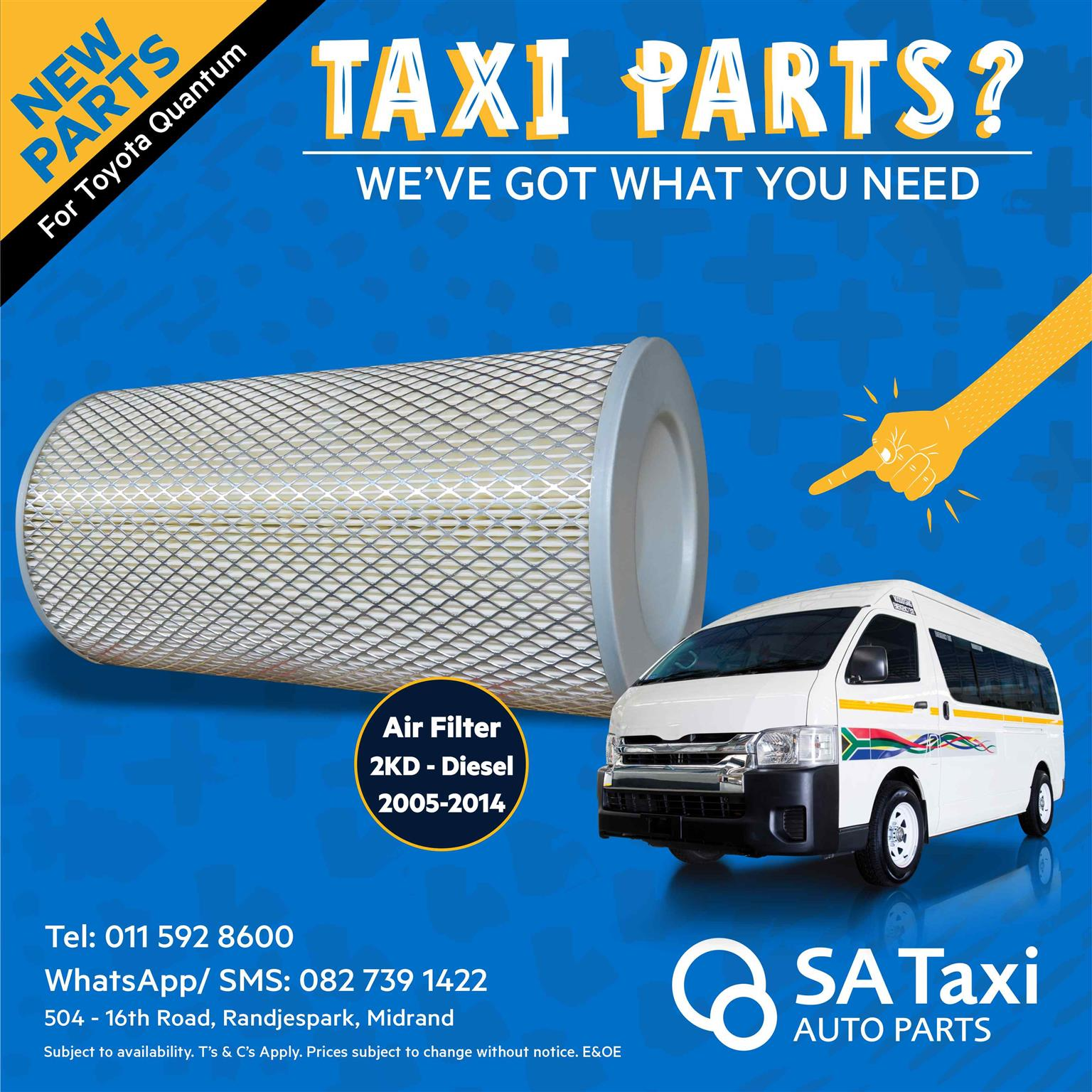 2KD Air Filter 2005-14 Diesel suitable for Toyota Quantum - SA Taxi Auto Parts quality NEW spares