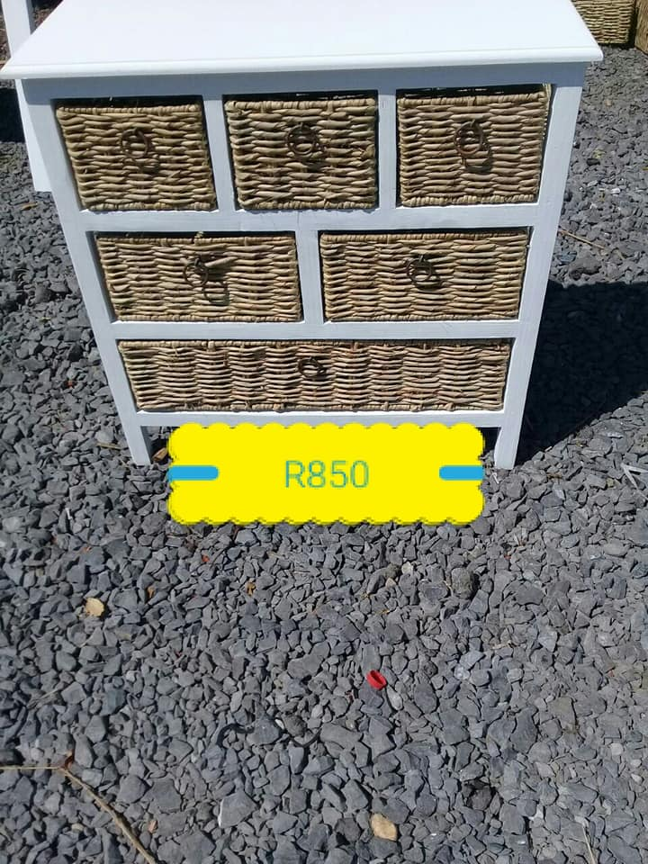 6 Basket drawer white stand for sale
