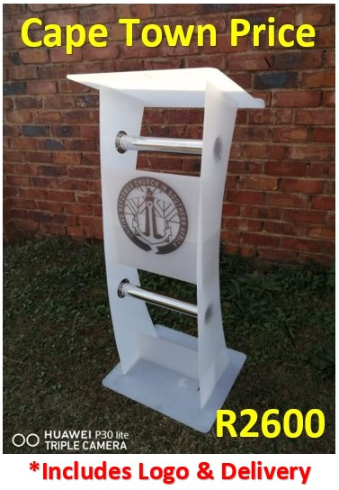 Easter Specials on White C-Shape Podium with Silver Tubing