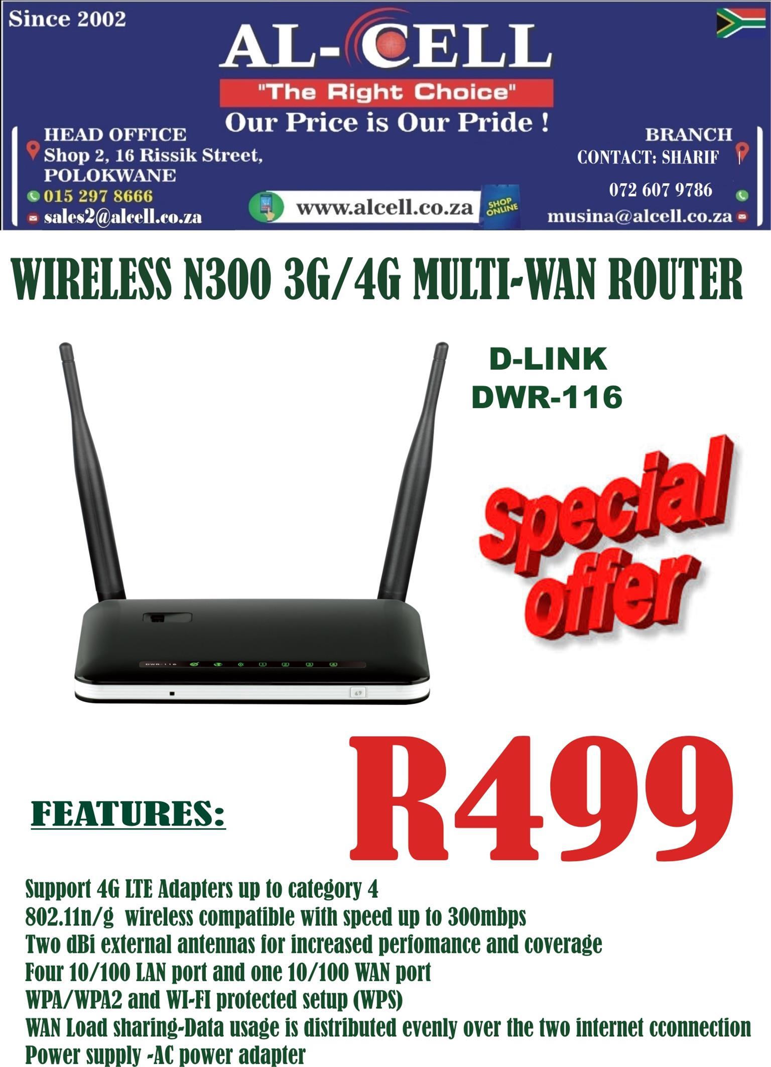 D-LINK Wireless N300 3G/4G Multi-Wan Router