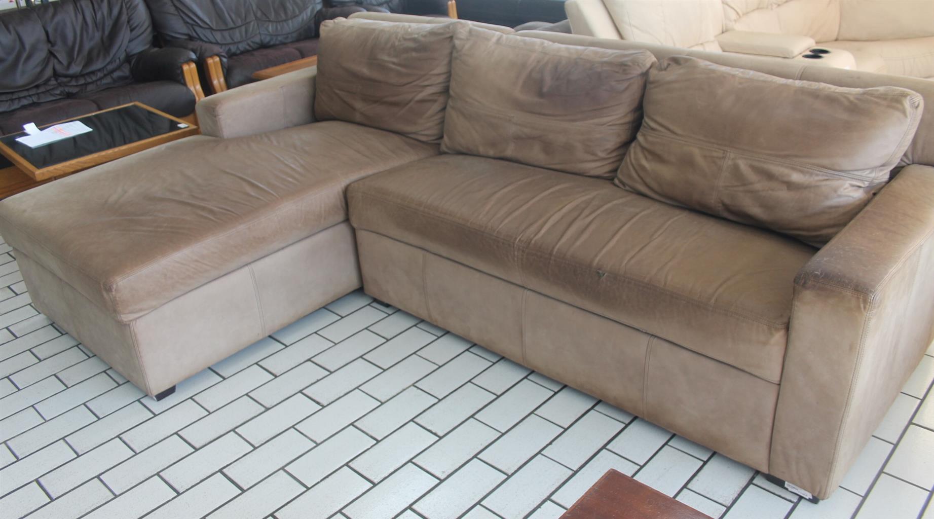 2 Piece l-shape coricraft leather lounge suite S044356A #Rosettenvillepawnshop