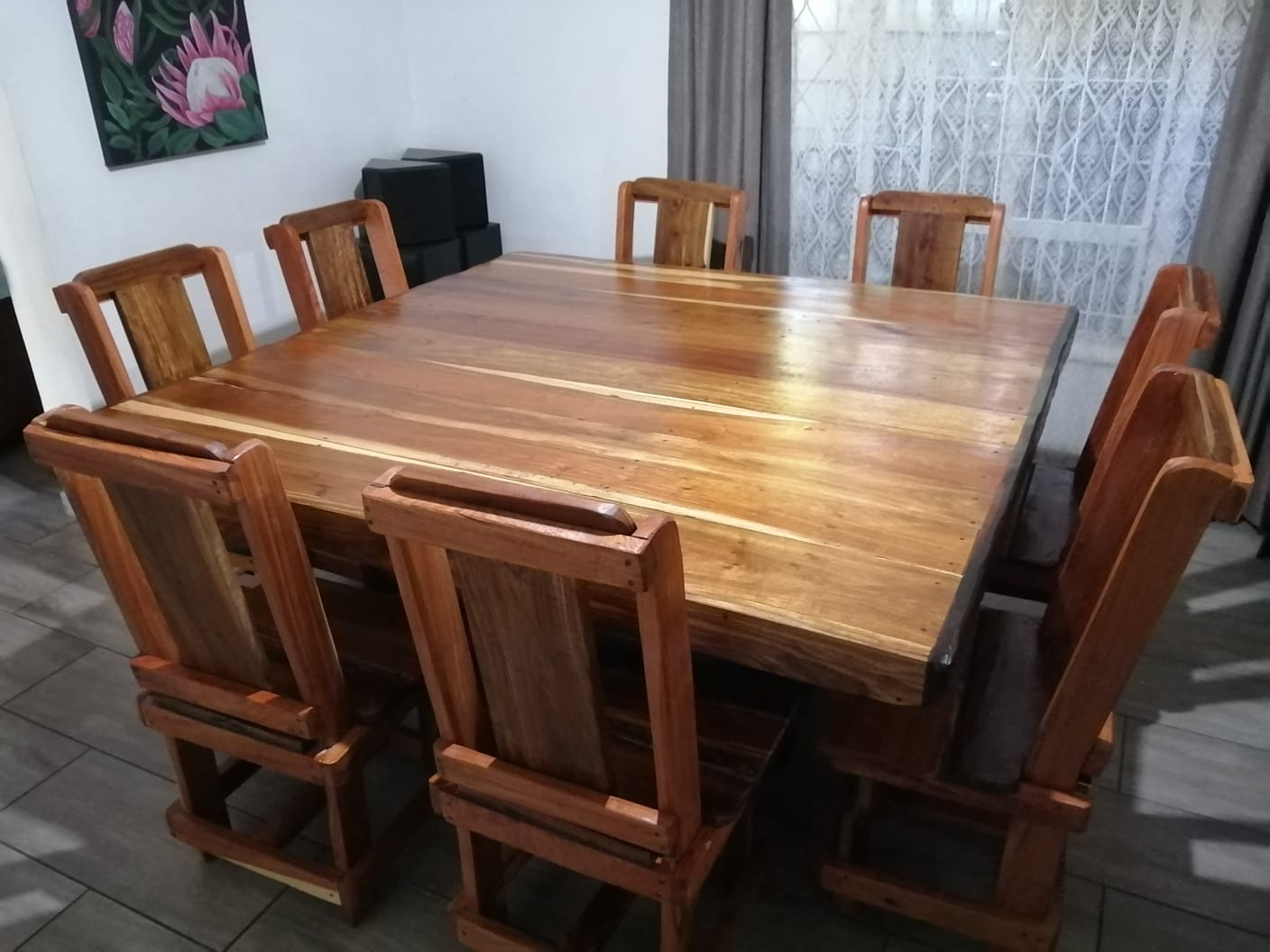 8 seater square diningroom table