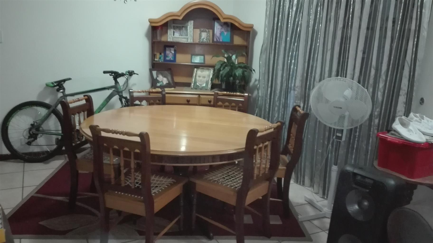 Imbuia and Yellowwood Dining Room Suite with Display Cabinet