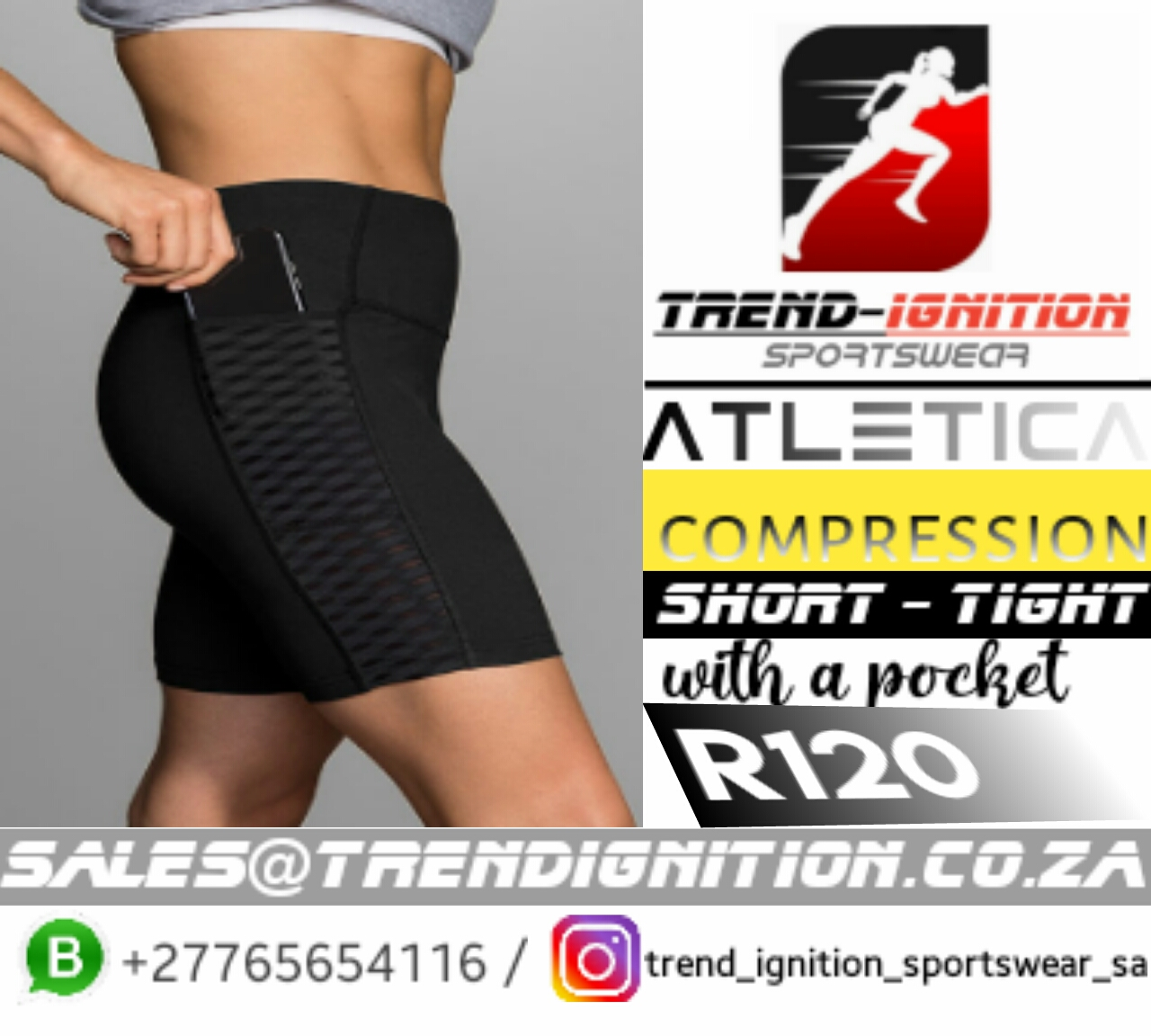 Compression sports tight with a pocket