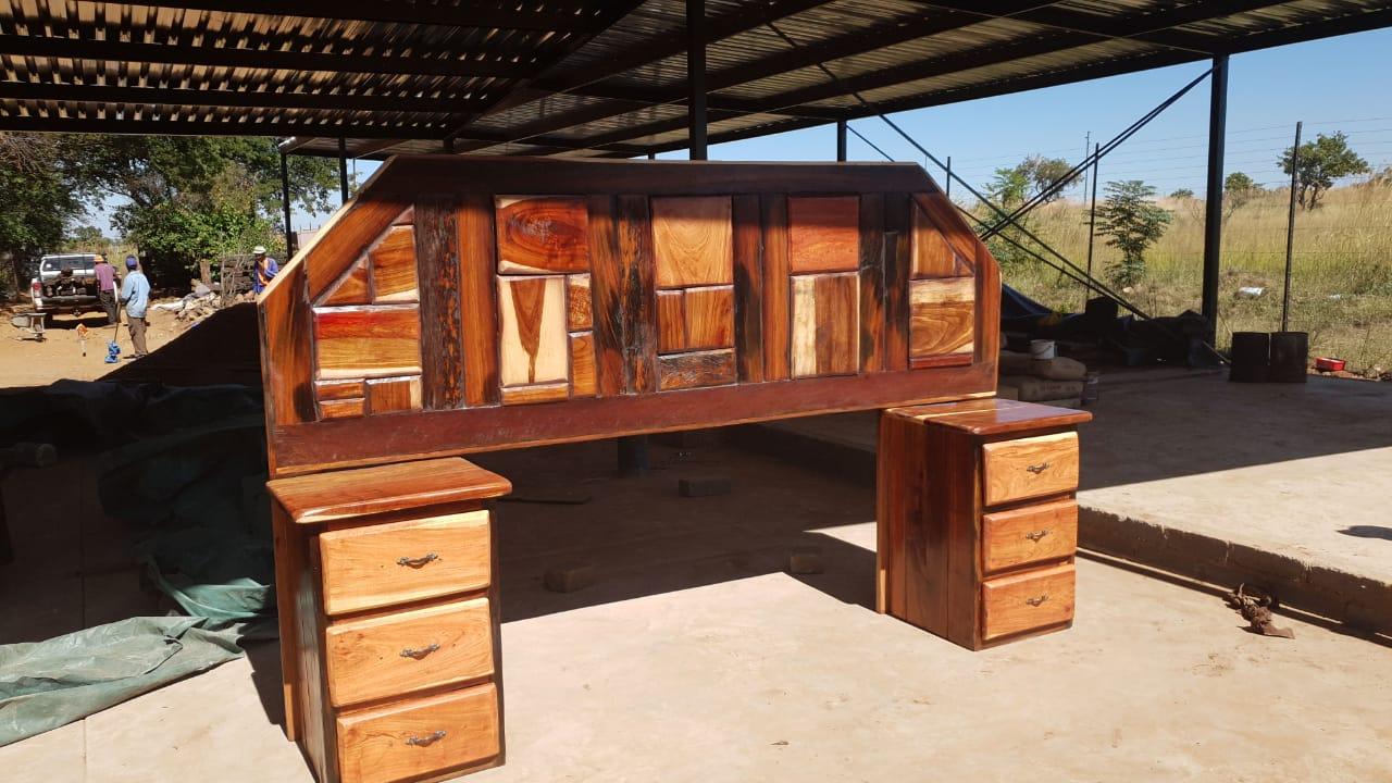 Sleeper wood headboard and side tables