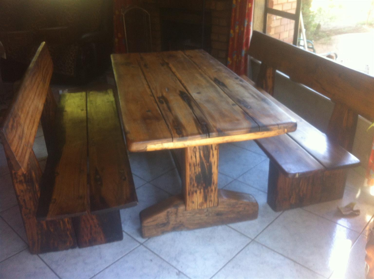 Teak table and 2 benches