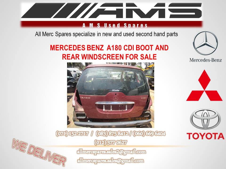 MERCEDES A180 CDI BOOT AND REAR WNDSCREEN FOR SALE