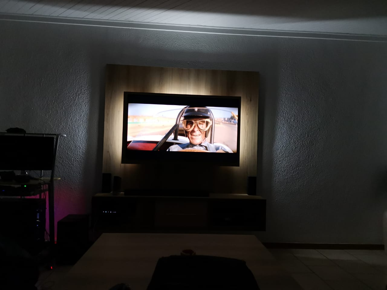 Wall mounted TV stand for 55 inch TV stand with matching square coffee table.