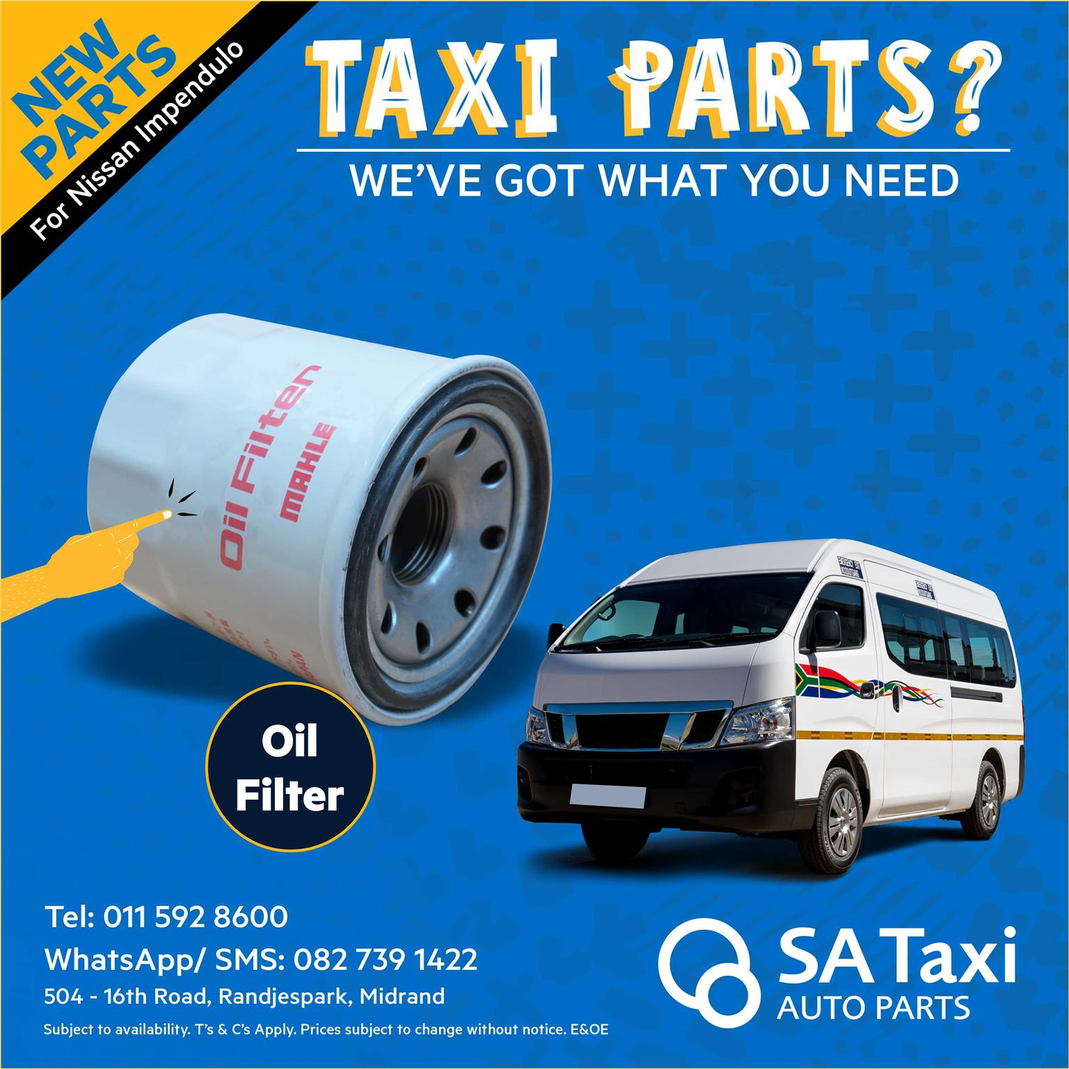 Quality new Oil Filter for Nissan NV350 Impendulo - SA Taxi Auto Parts quality spares