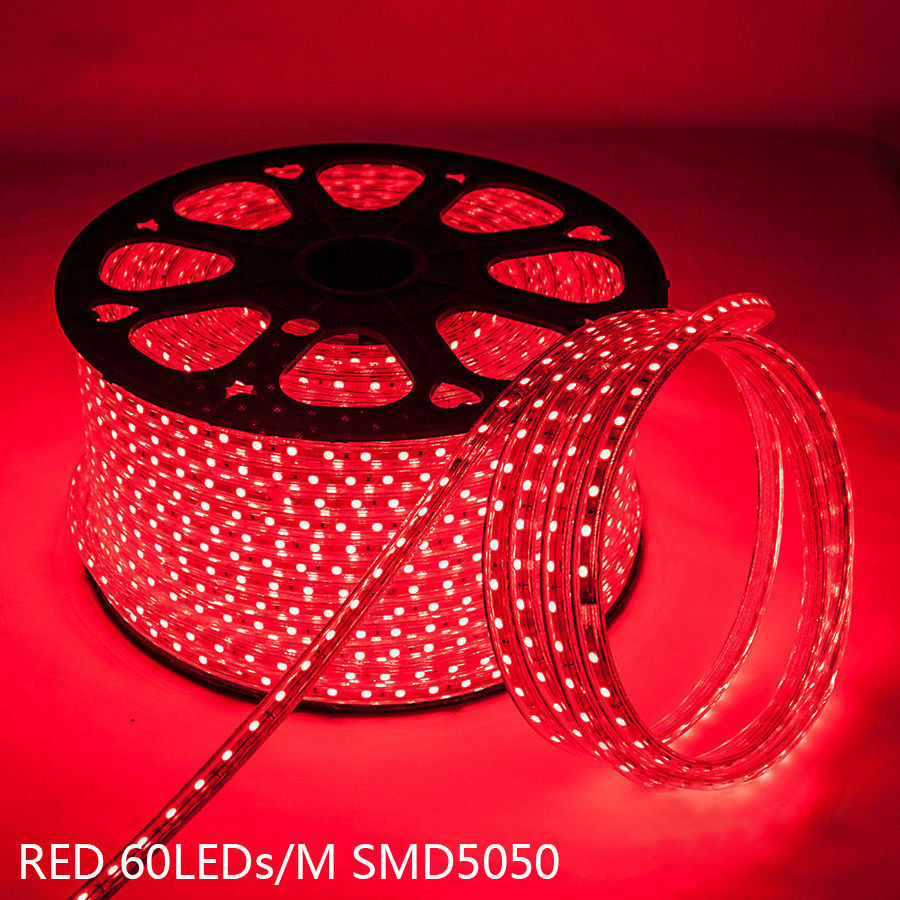 Led Strip Light Red Colour 220v With Connector Plugs And
